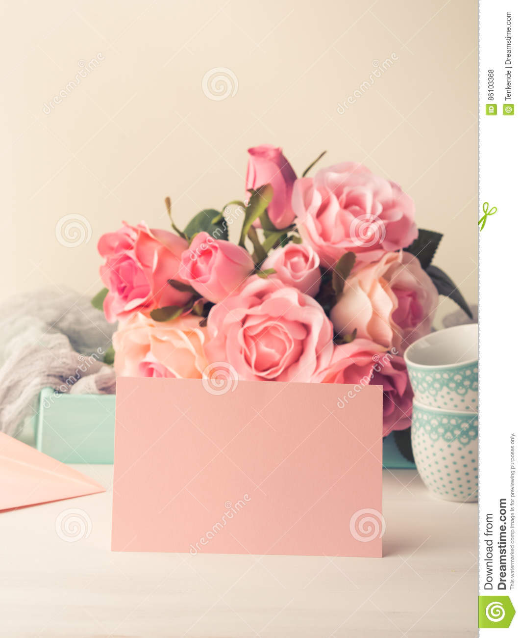 Valentines Day Card On Pink Roses Vector Illustration