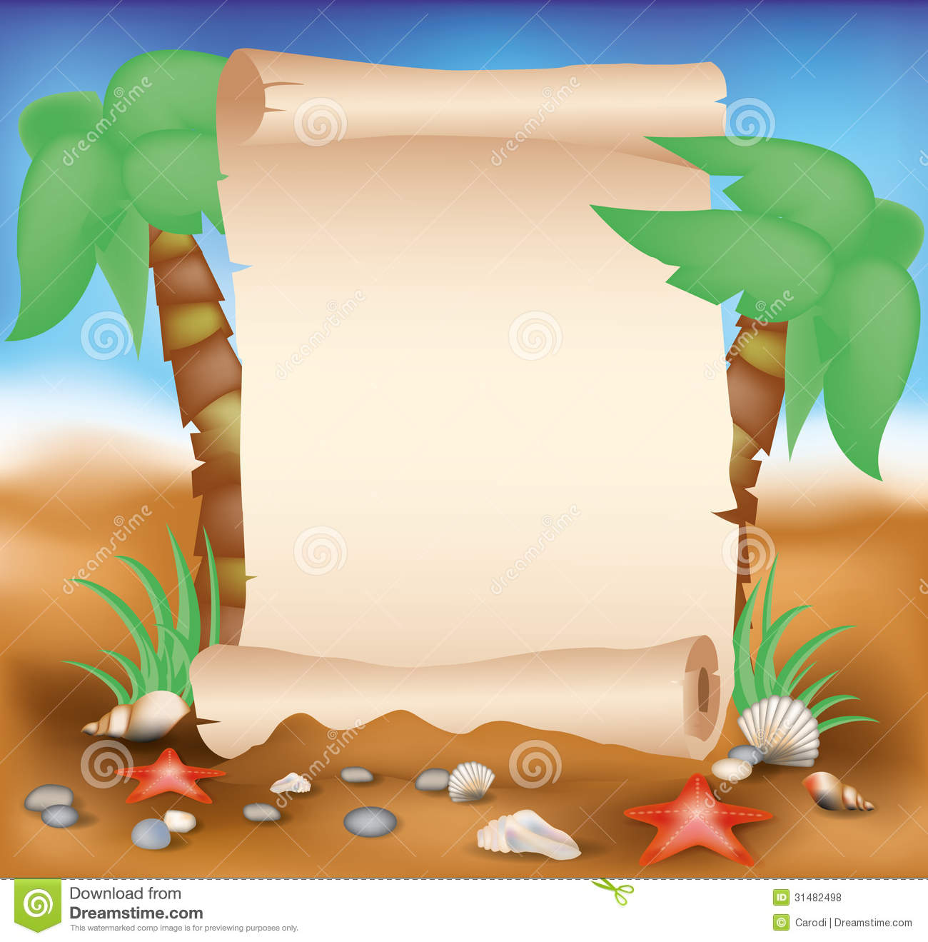 Blank Paper Scroll On Summer Card With Palm Stock Vector