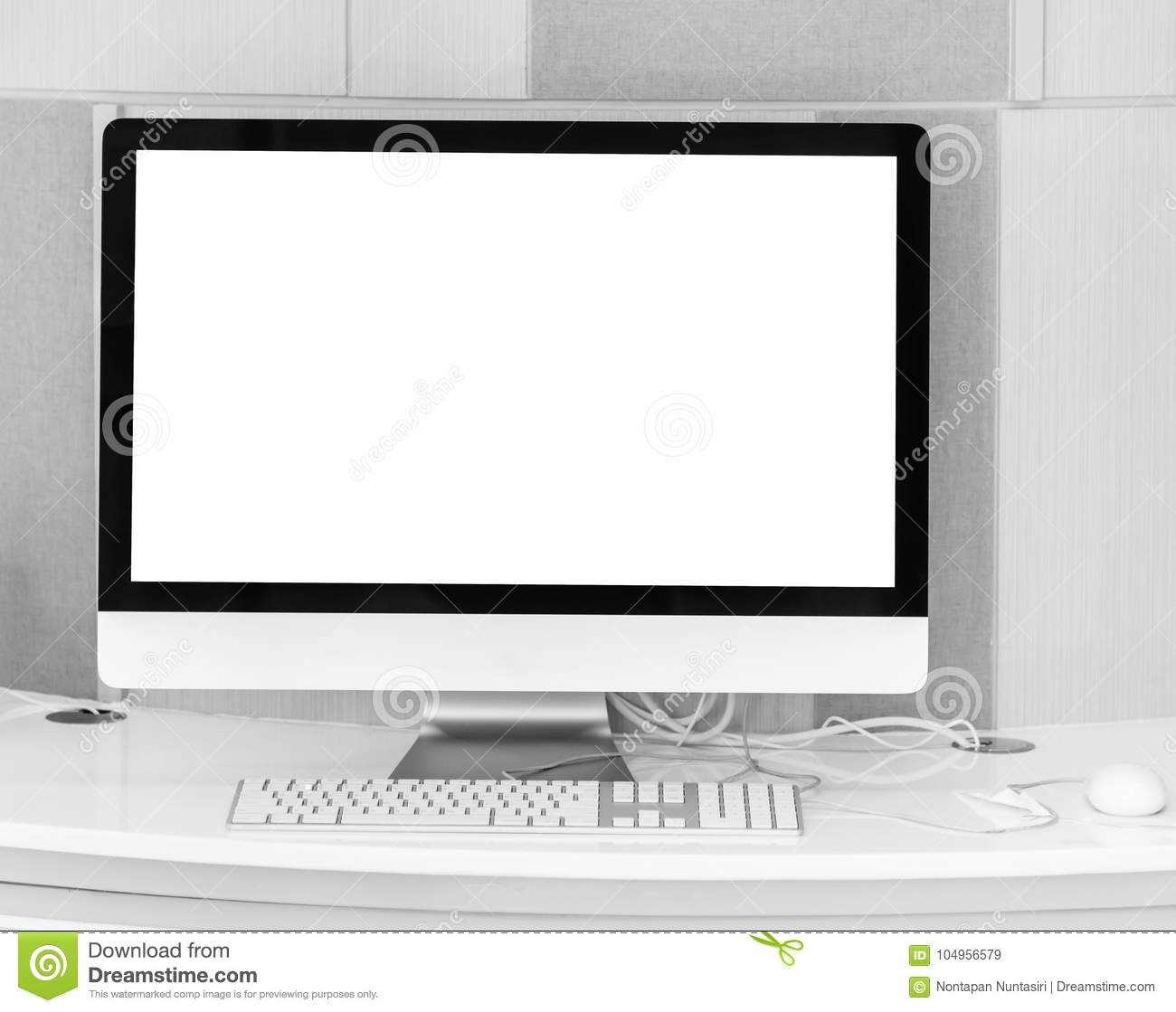 Blank Screen Computer Desktop With Keyboard And Mouse
