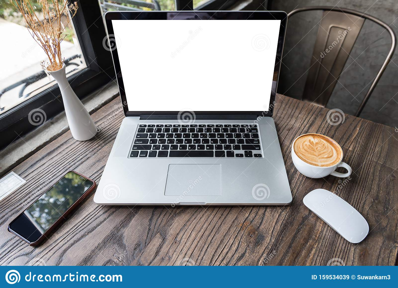 Blank Screen Laptop Computer With Mouse And Smart Phone On