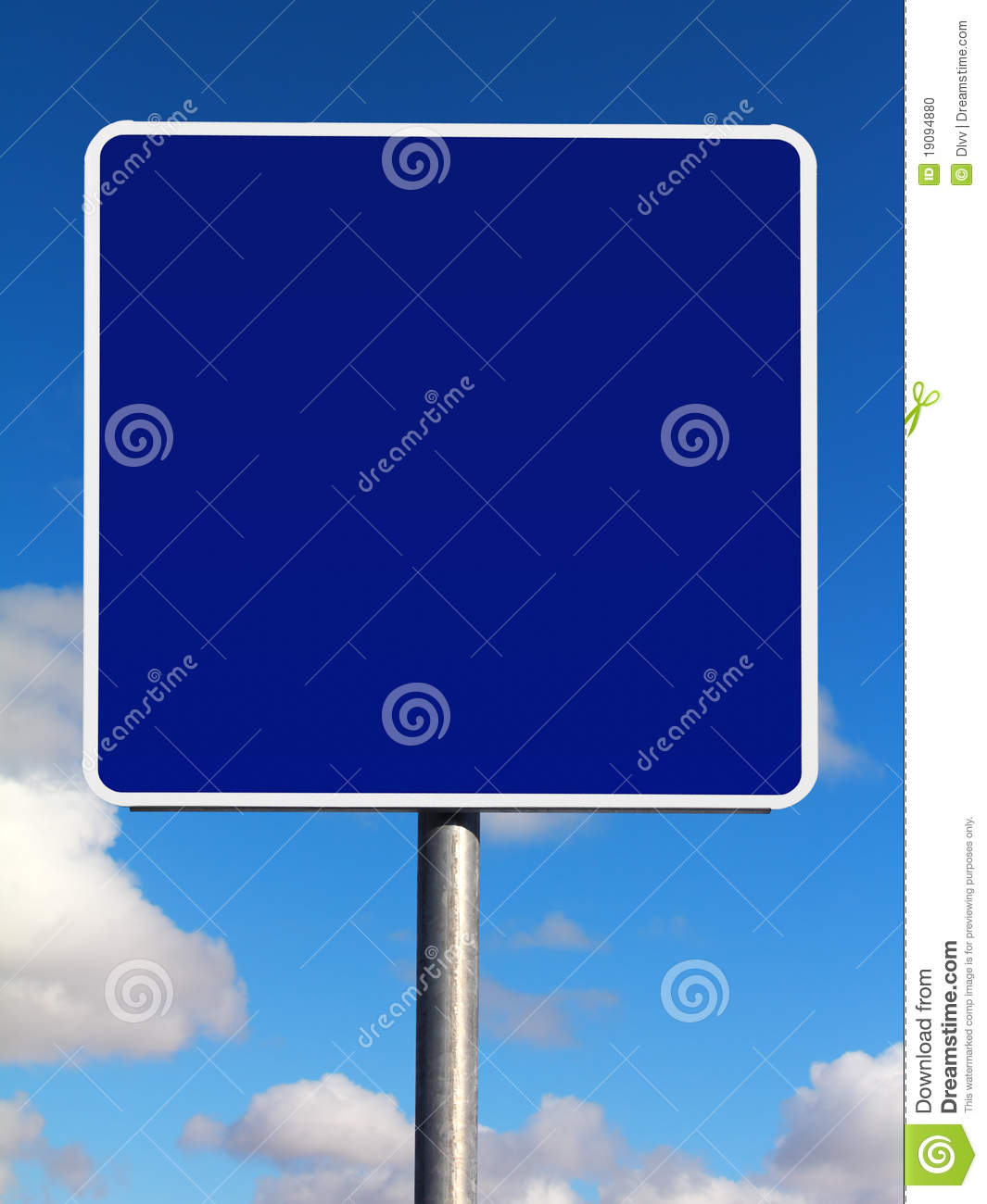 Blank Square Blue Informational Traffic Sign Stock Photo