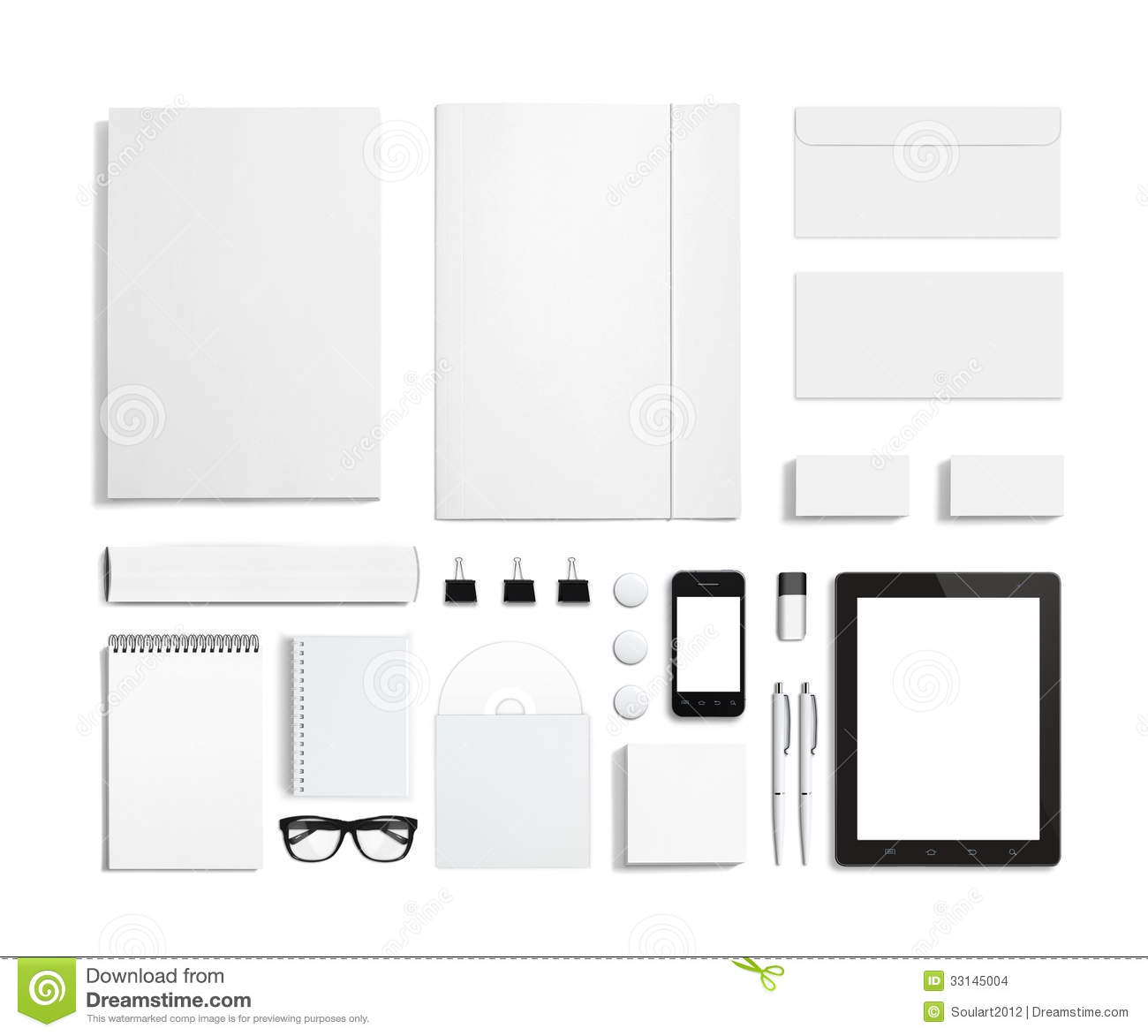 Blank Stationery Corporate Id Set Isolated On White