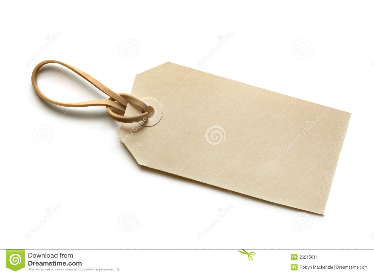 Blank Tag With Elastic Band Stock Image Image 26215011