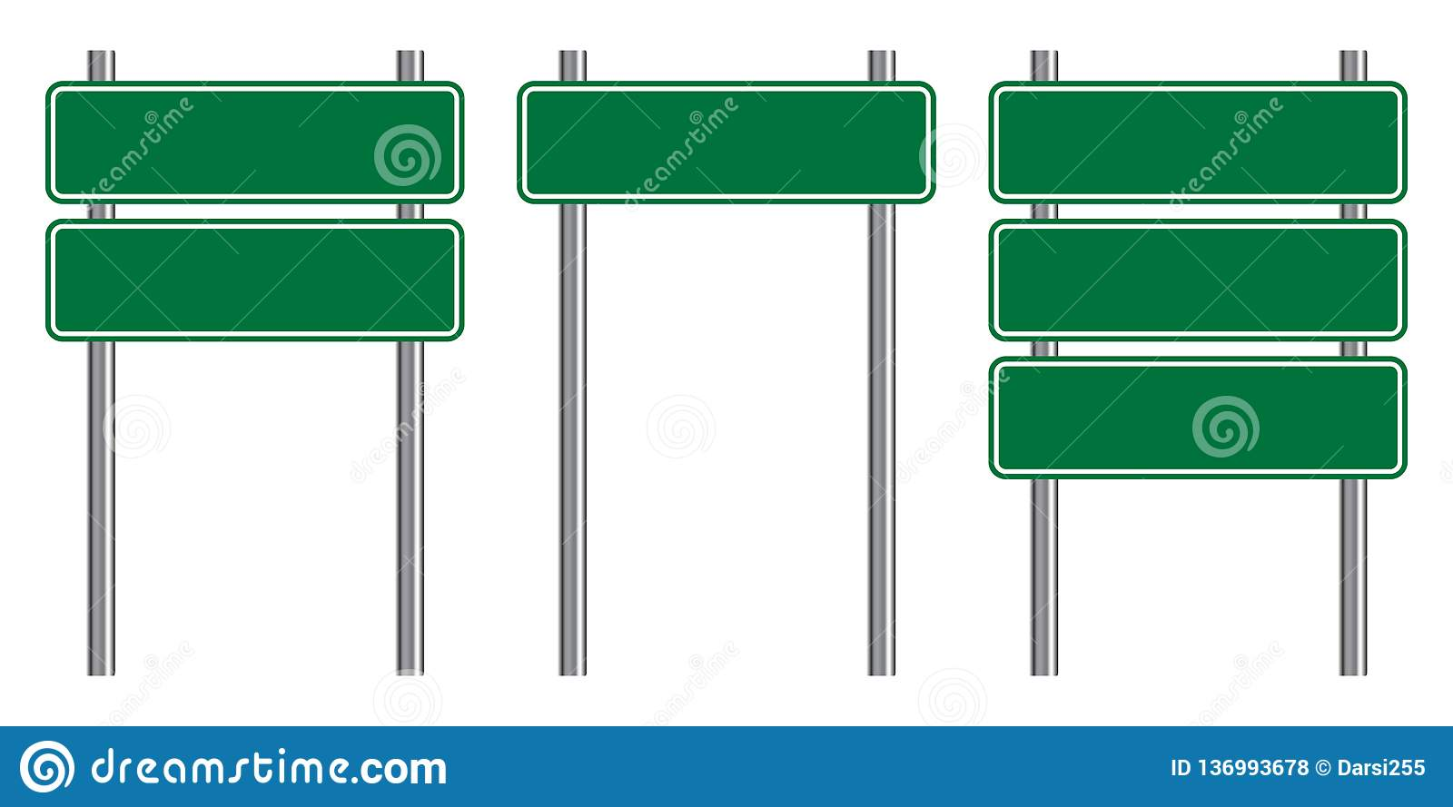 Blank Traffic Road Sign Set Empty Street Signs Green