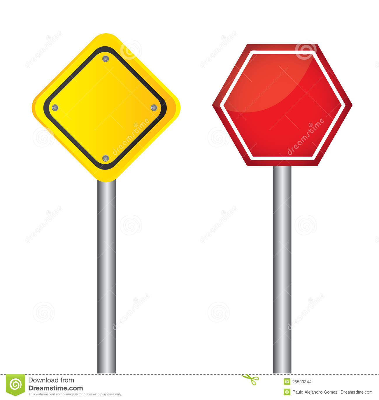 Blank Traffic Signs Stock Vector Illustration Of Caution
