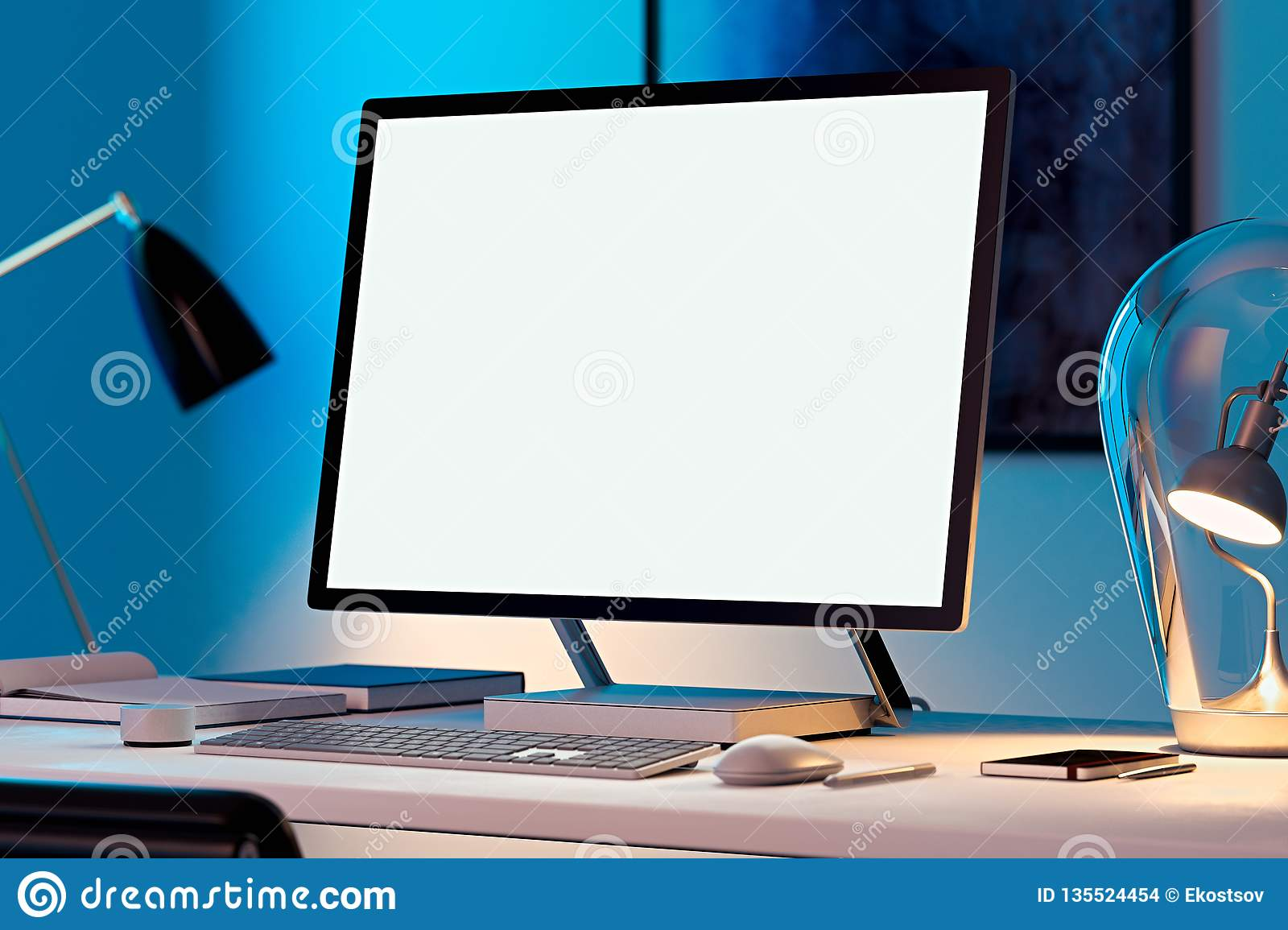 Blank White Monitor Keyboard And Computer Mouse At Desk
