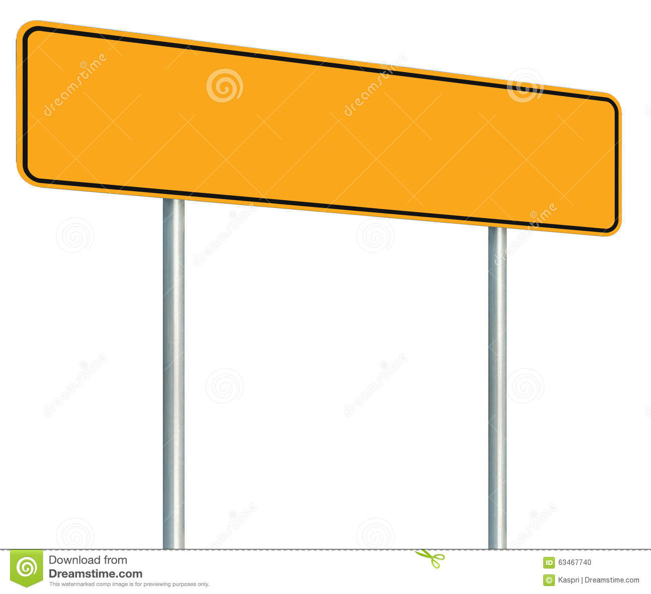 Blank Yellow Road Sign Isolated Large Warning Copy Space