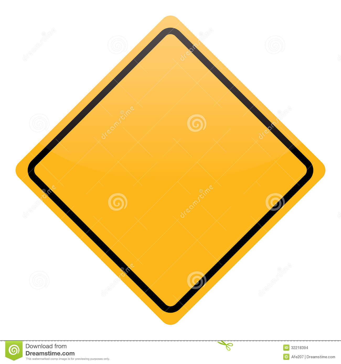 Blank Yellow Warning Sign Isolated Stock Vector