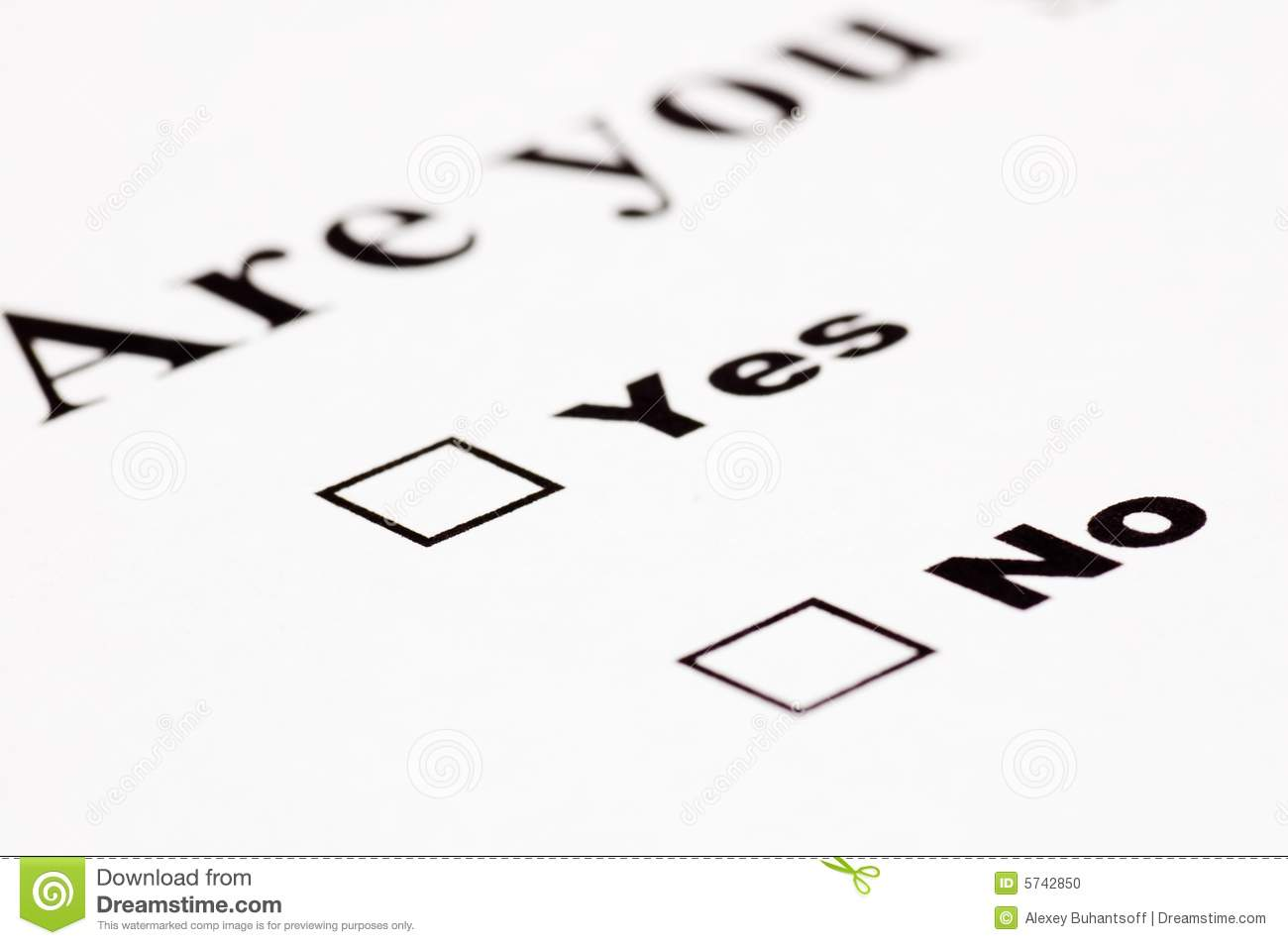 Blank Yes No Form Stock Photo