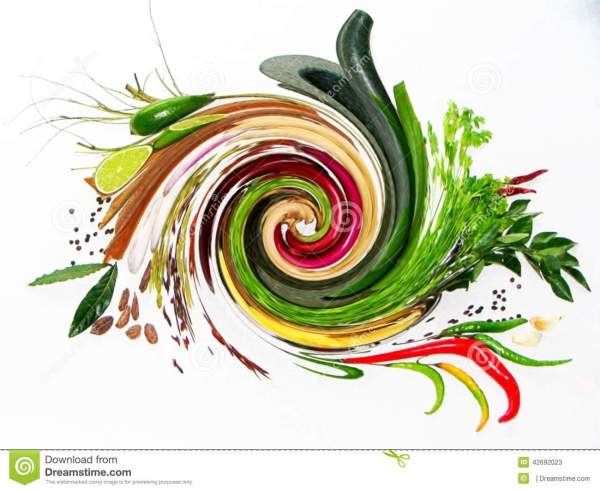 Blending Of Fresh Herbs & Spices Stock Image - Image of ...