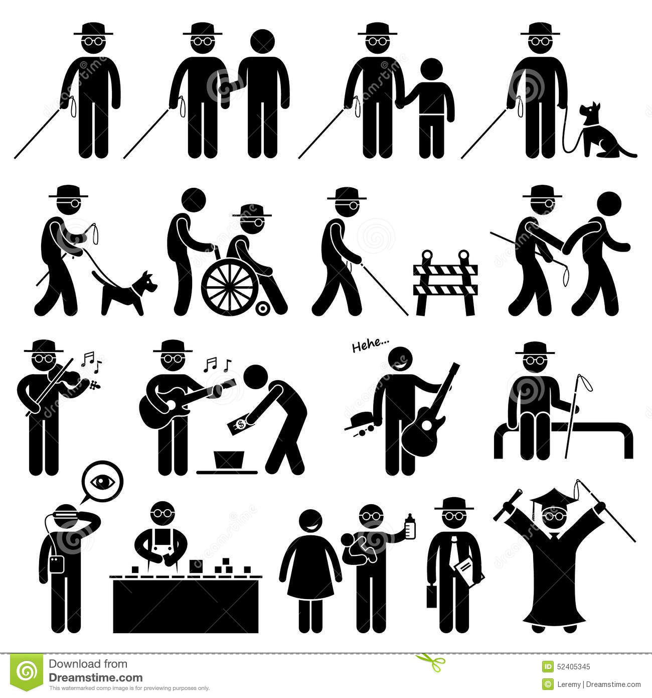 Blind Man Handicap Cliparts Stock Vector