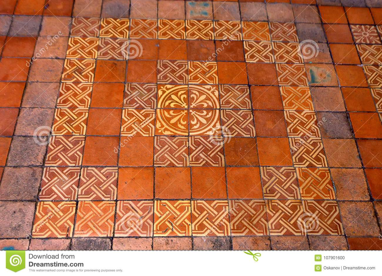 https www dreamstime com blois france circa june decorative floor tile french castle close up beautiful orange used medieval chateau de image107901600