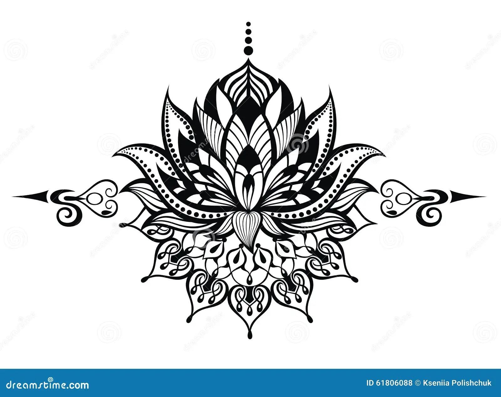 Blomma Lotusblomma Tatuering Vektor Illustrationer