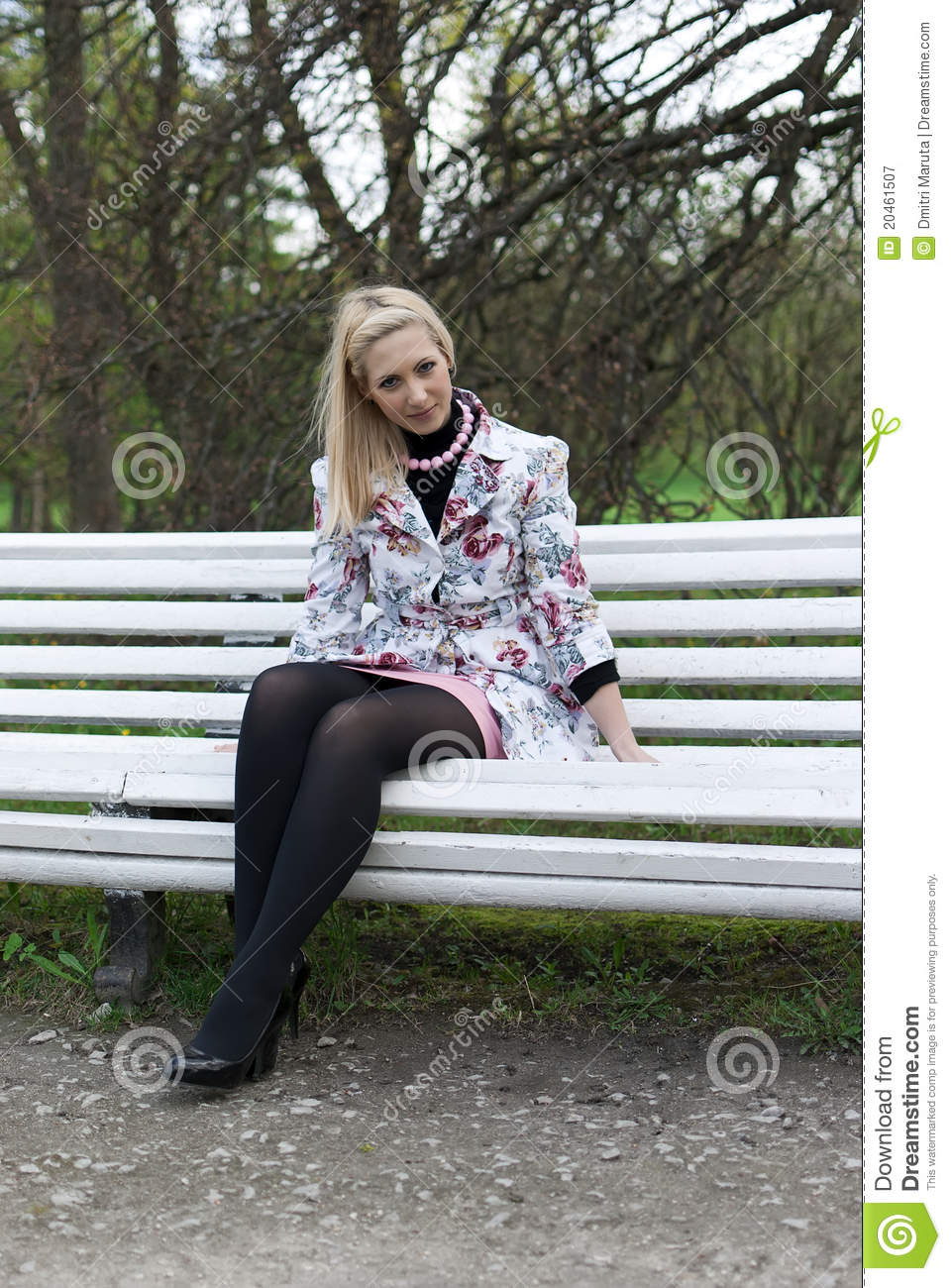 Blonde Girl Sitting On A Park Bench Stock Image Image