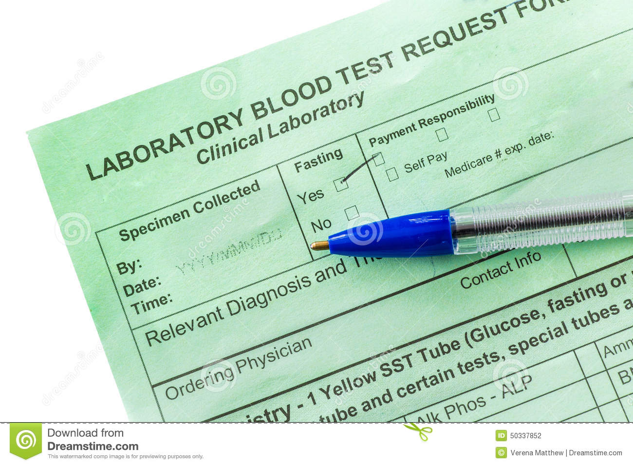 Blood Test Form Stock Photo Image Of Healthcare Study