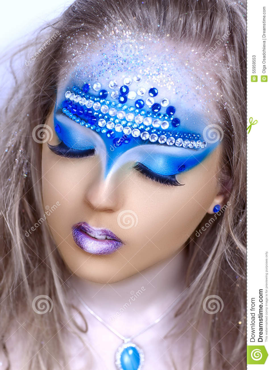 Blue Art Make Up Stock Image Image Of Cold Hairstyle