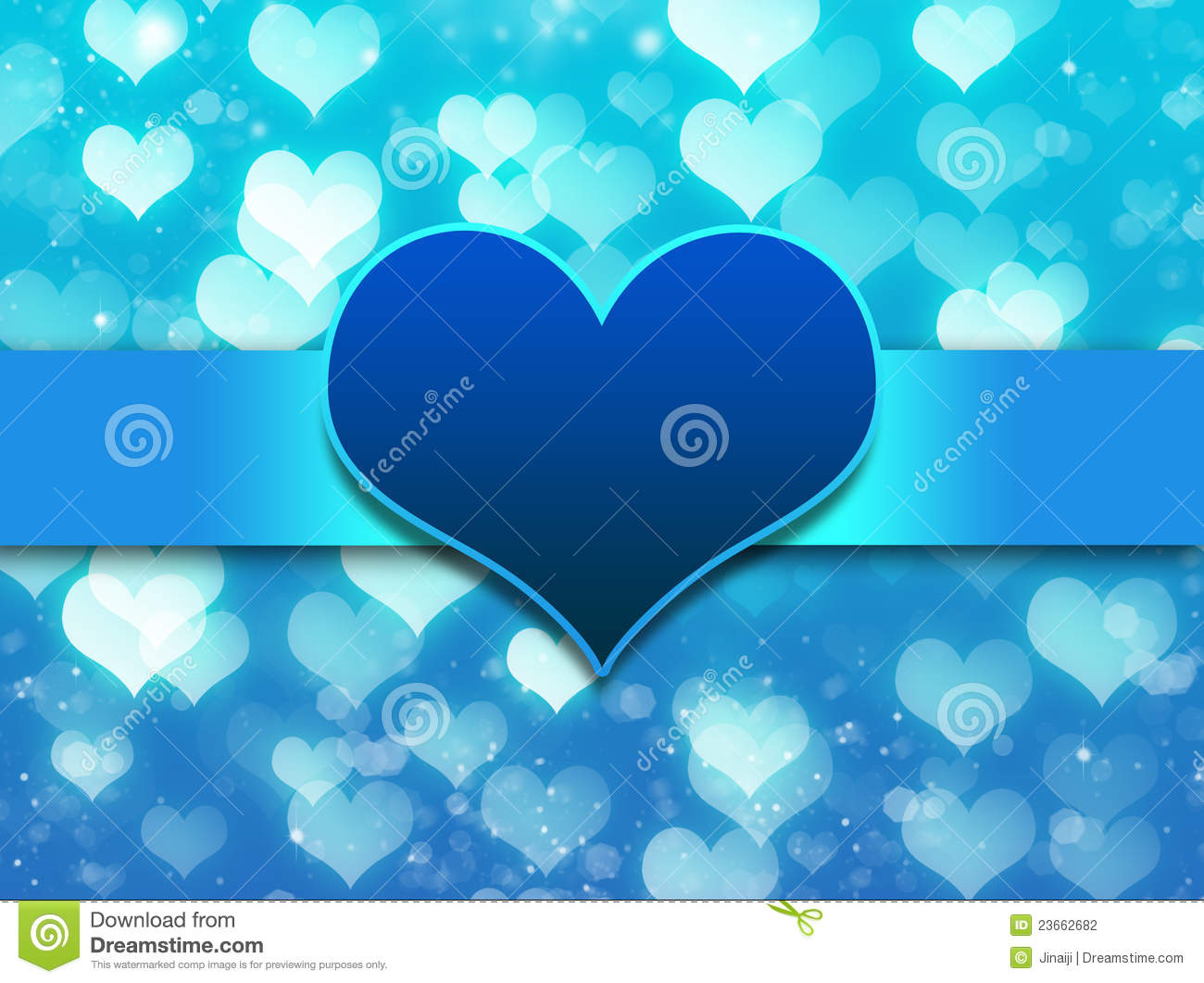 Blue Background With Love Heart Stock Photography Image