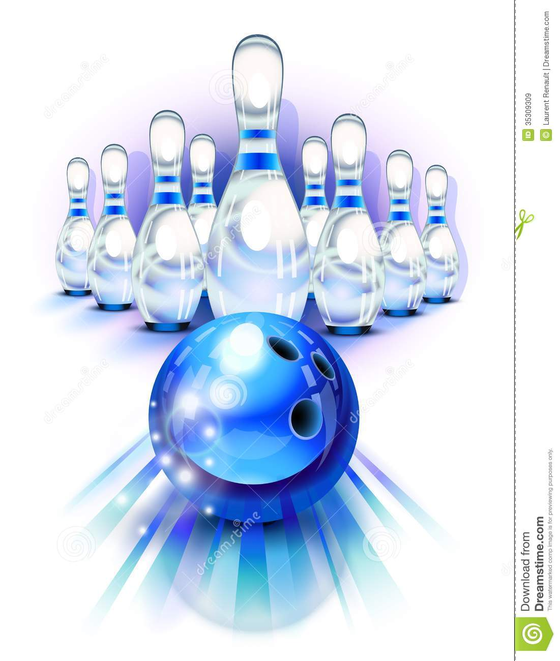 Blue Bowling Ball In Motion And The Pins Stock Vector