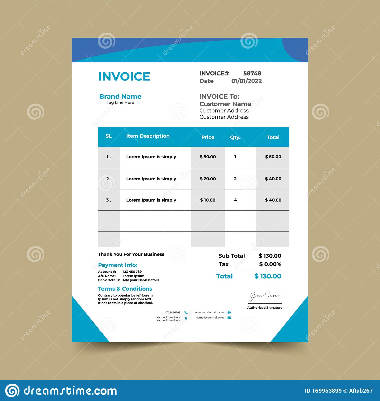 For more templates refer to our main page here.click on a template image to download the respective excel file. Blue Business Invoice Template Design Stock Vector Illustration Of Modern Excel 169953899