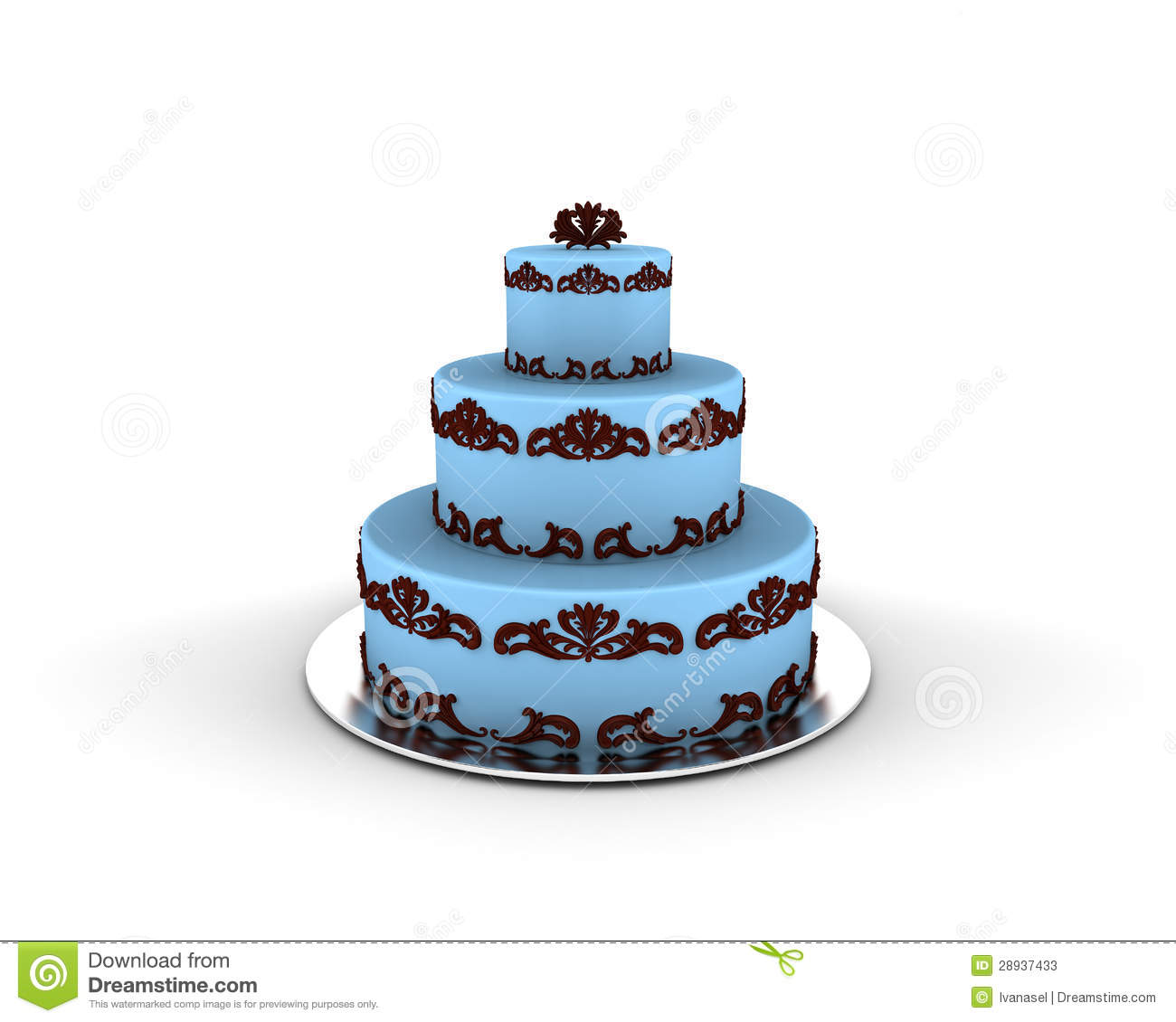 Blue Cake On Three Floors With Chocolate Ornaments On It