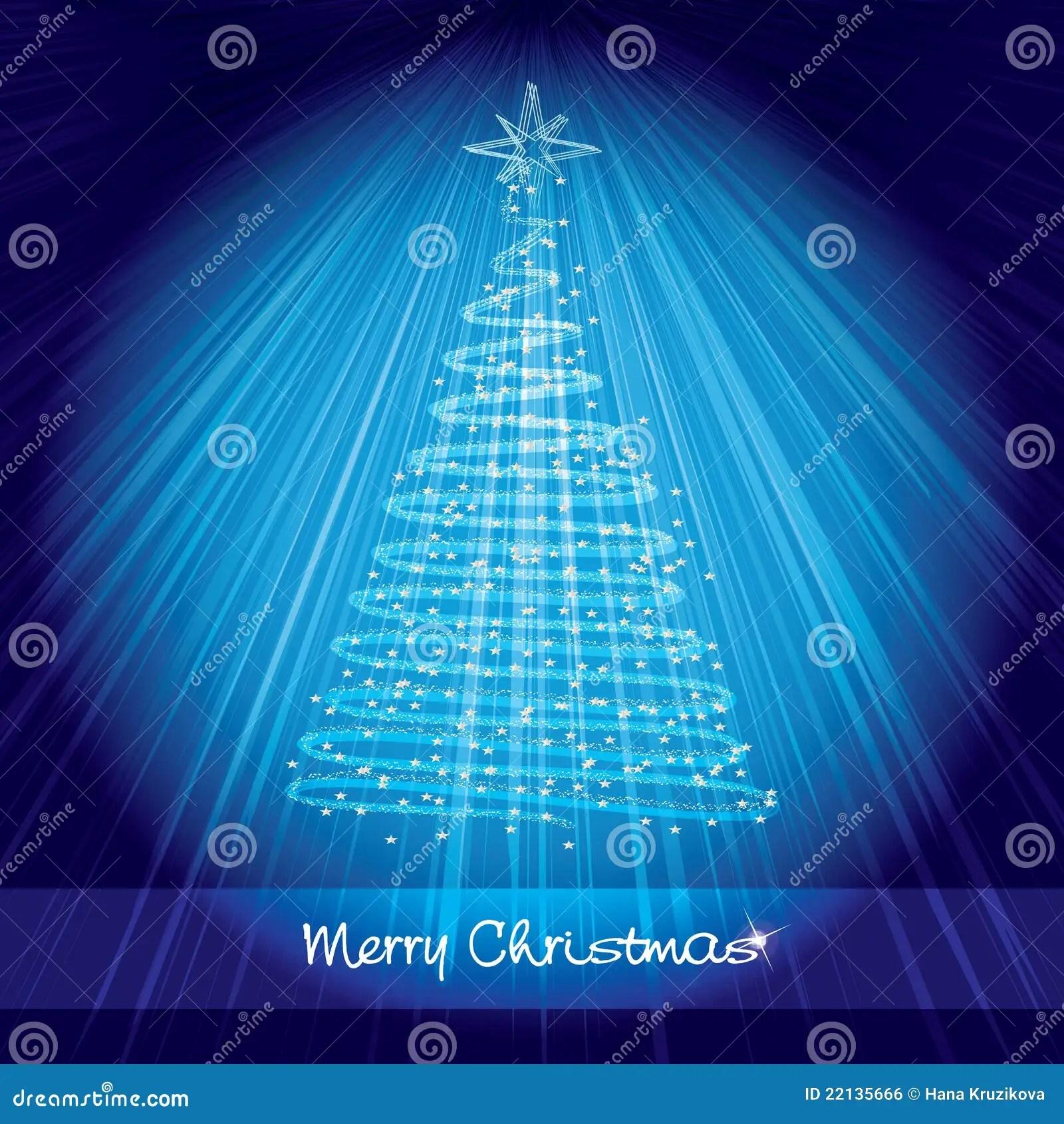 Blue Christmas Card With Shining Christmas Tree Stock