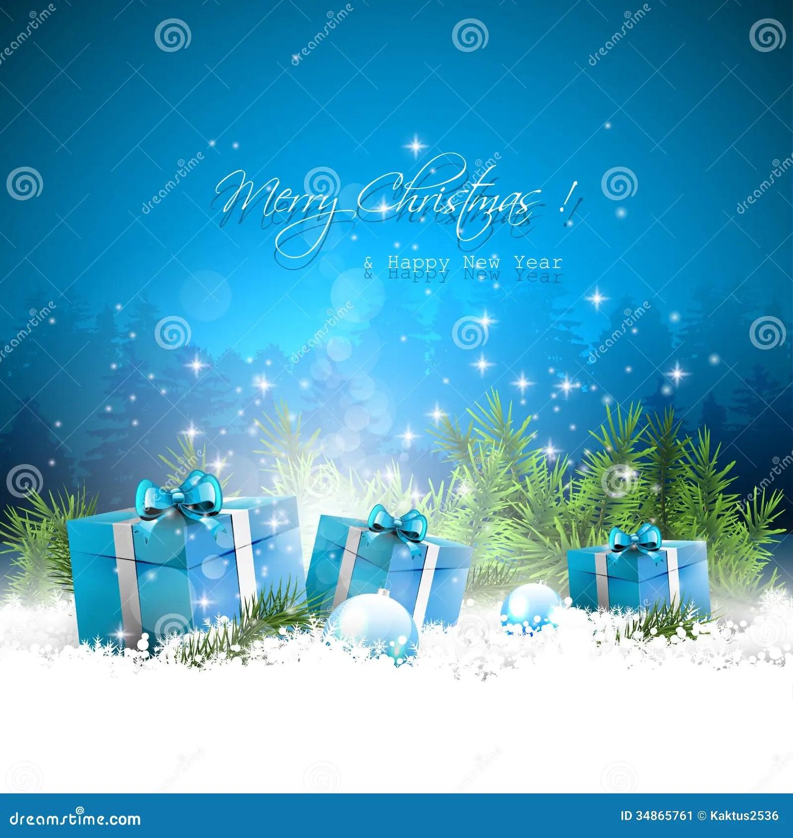 Blue Christmas Greeting Card Stock Vector Illustration