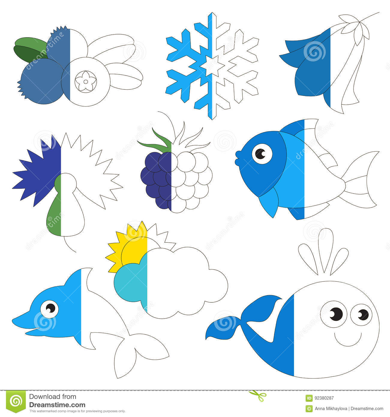 Blue Color Objects The Big Kid Game To Be Colored By Example Half Stock Vector