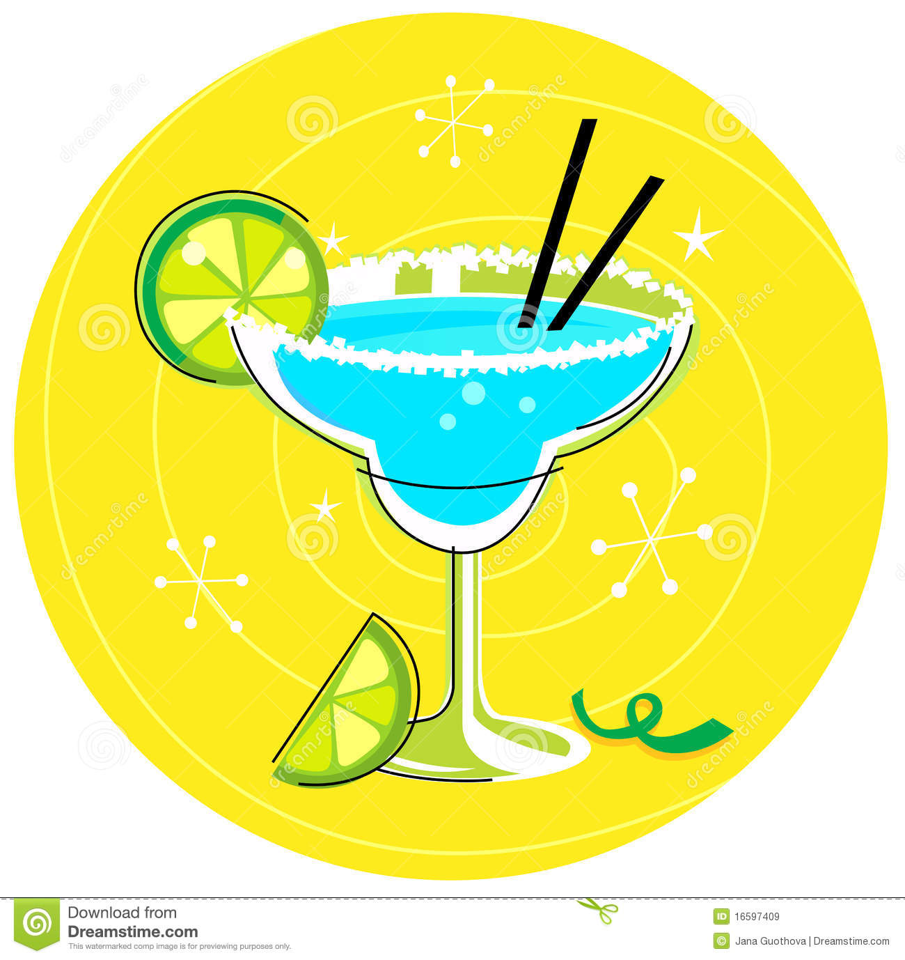 Blue Margarita Retro Cocktail Icon Royalty Free Stock
