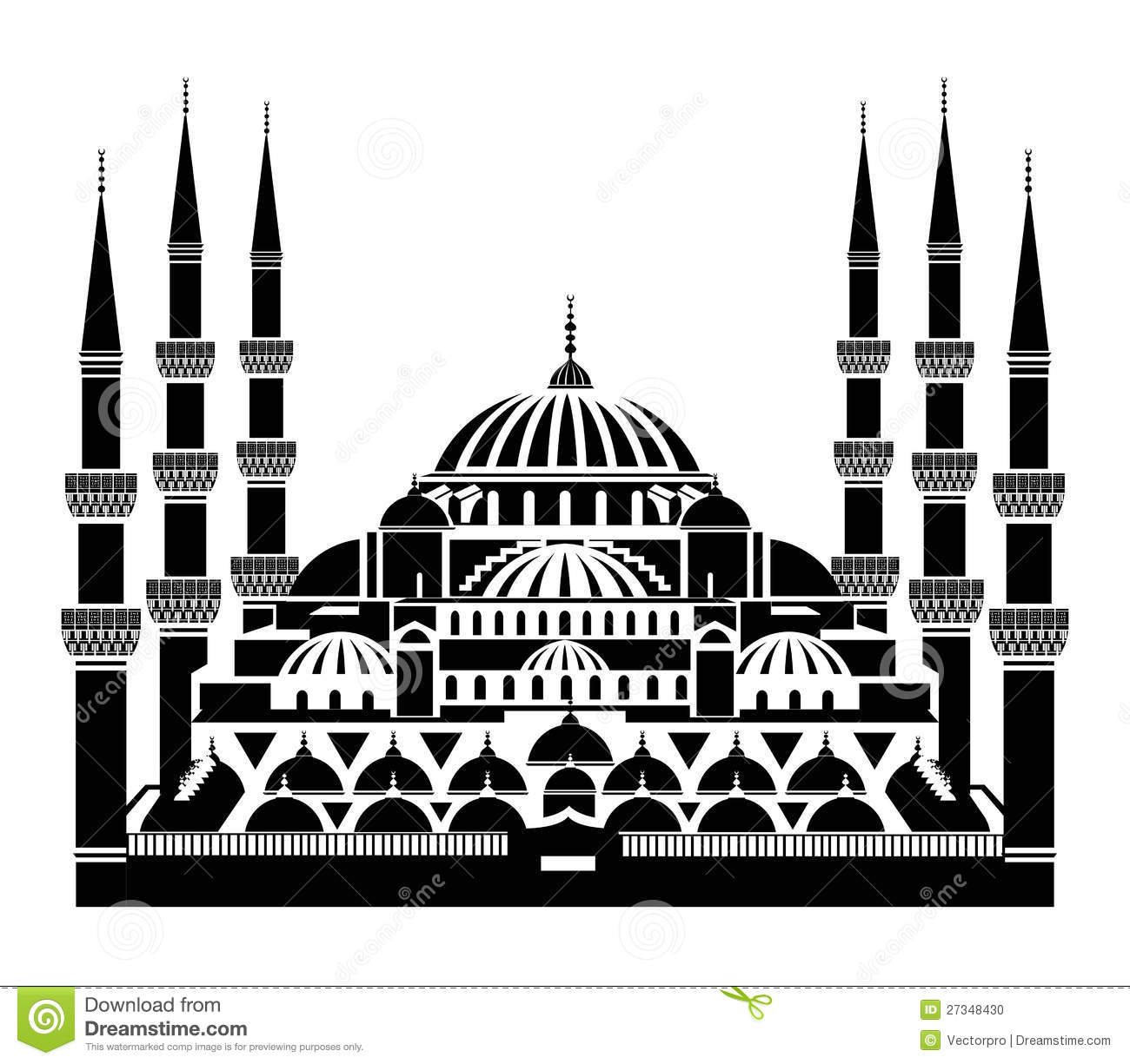 The Blue Mosque Istanbul Stock Vector Illustration Of