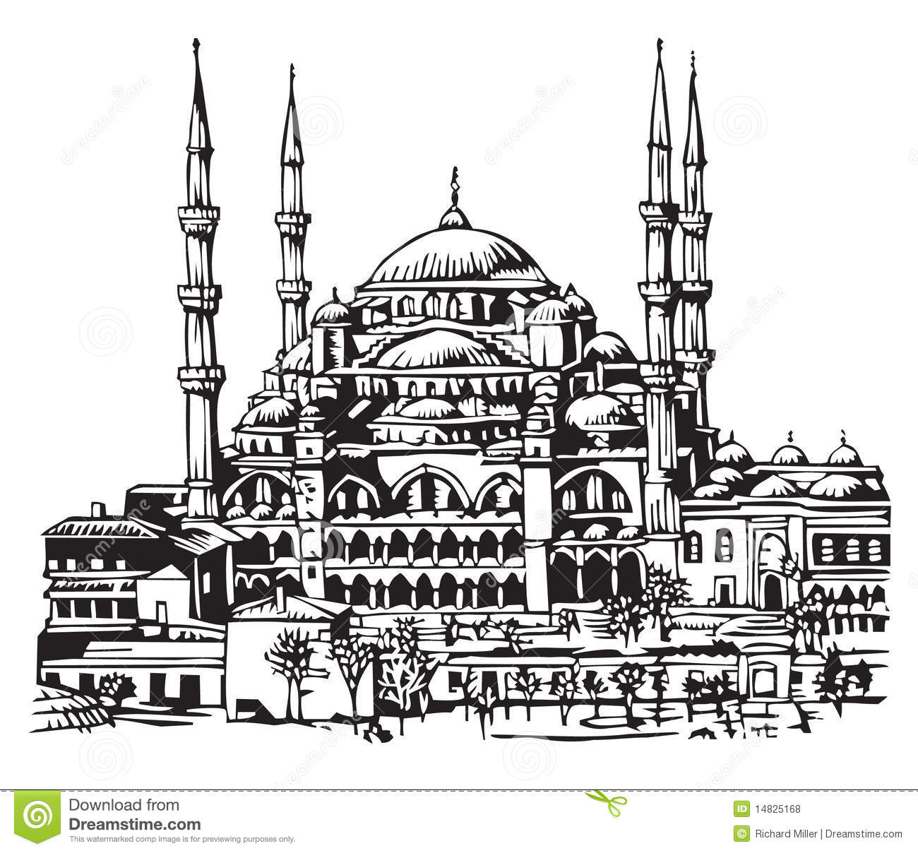 Blue Mosque Istanbul Illustration Stock Vector