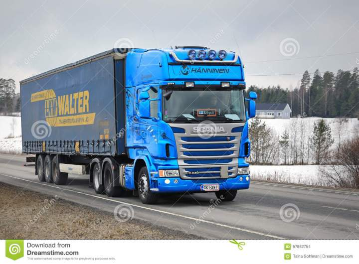 Blue Scania Hauls Curtainsider Cargo Trailer Editorial Stock Image Of Duty Container