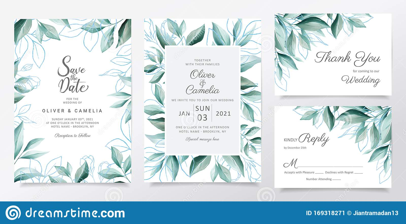 https www dreamstime com blue wedding invitation card template set watercolor leaves border elegant botanic decoration background blue floral image169318271