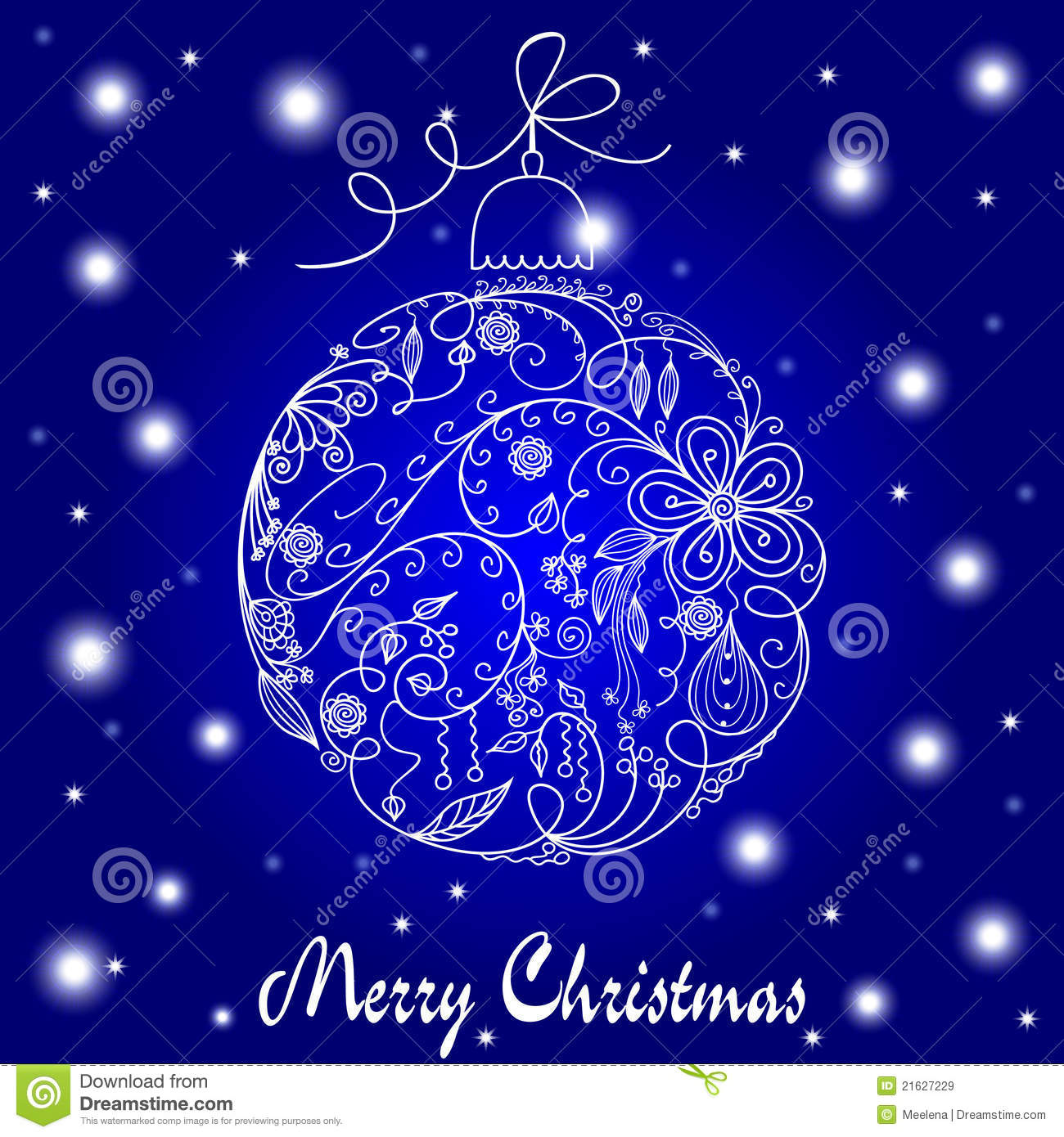 Blue And White Christmas Card Stock Vector Illustration