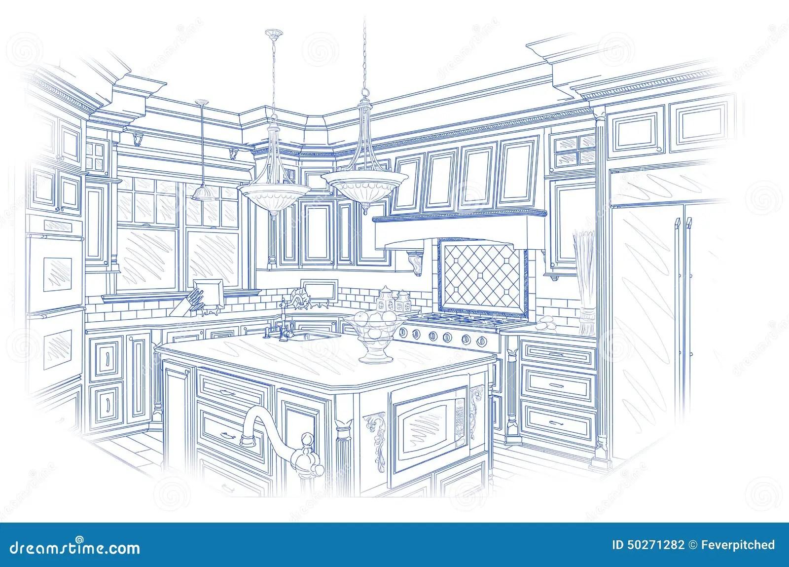 Blueprint Custom Kitchen Design Drawing On White Stock