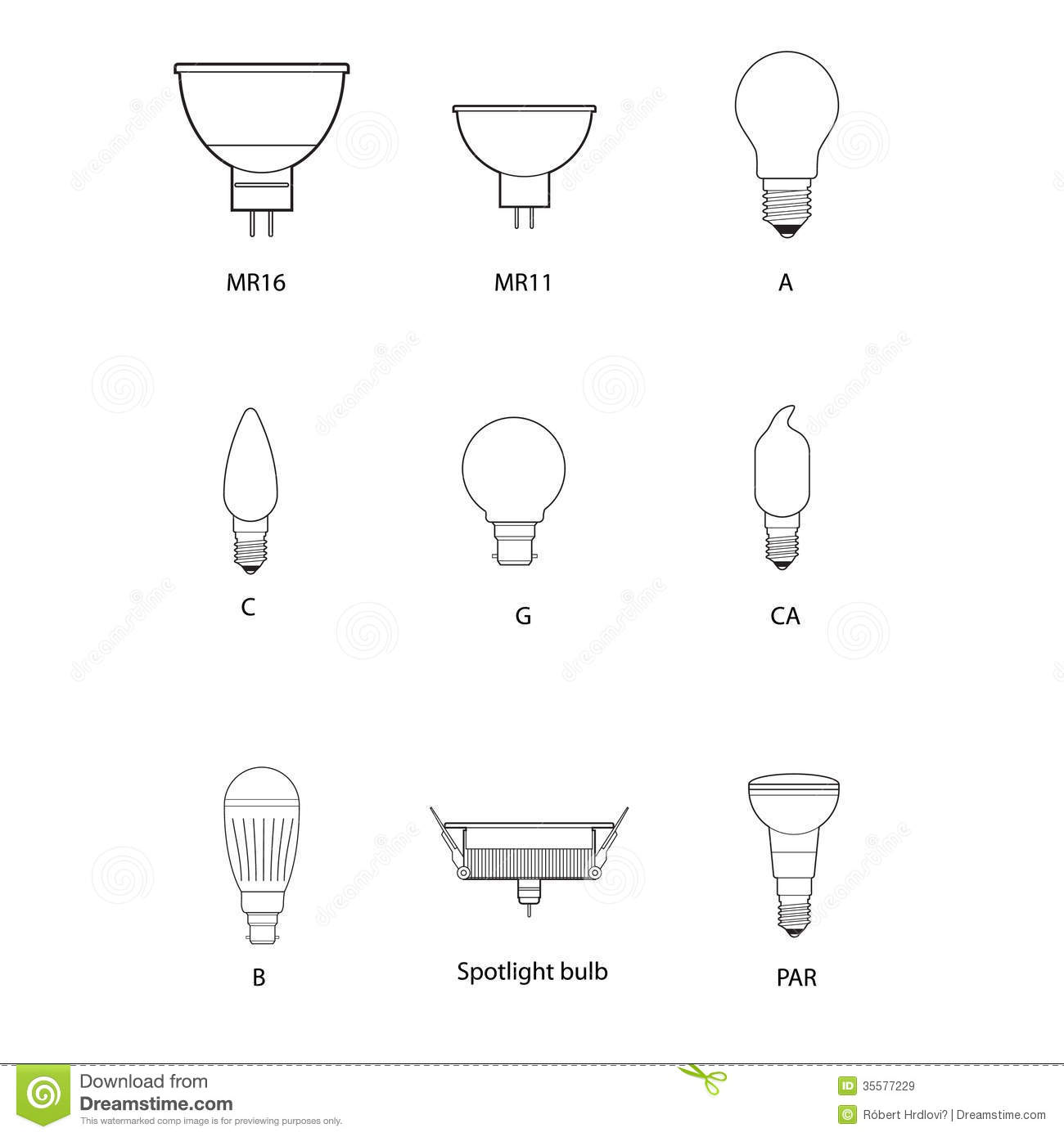 Blueprint Technical Draw Of Different Bulb Socket Stock
