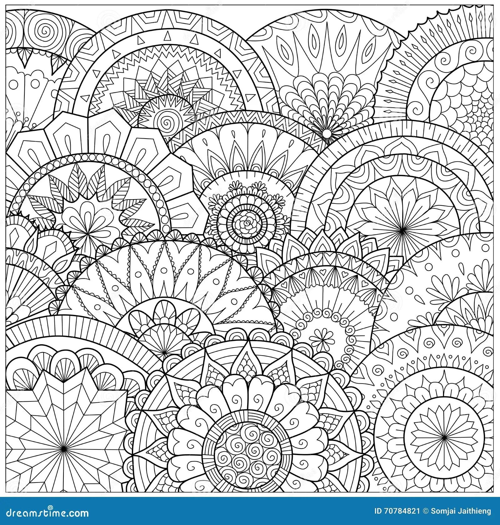 Blumen Und Mandalalinie Kunst Fr Malbuch Fr Erwachsenen