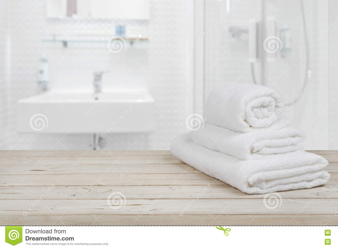 Blurred Bathroom Interior Background And White Spa Towels On Wood Stock Photo Image Of Modern