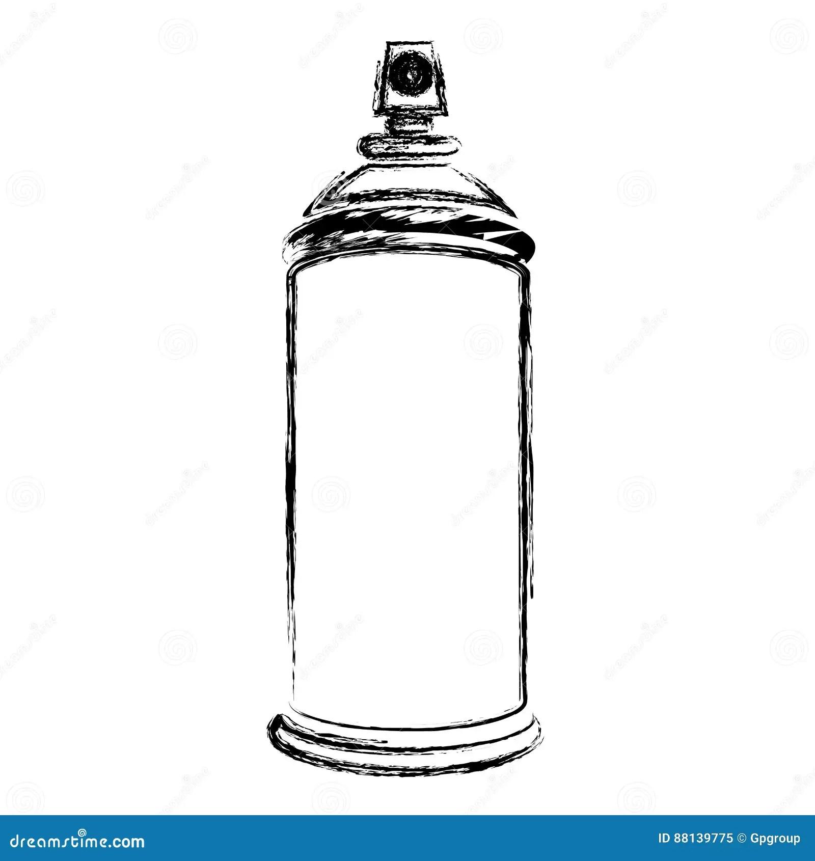 Blurred Silhouette Aerosol Spray Bottle Can Icon Stock