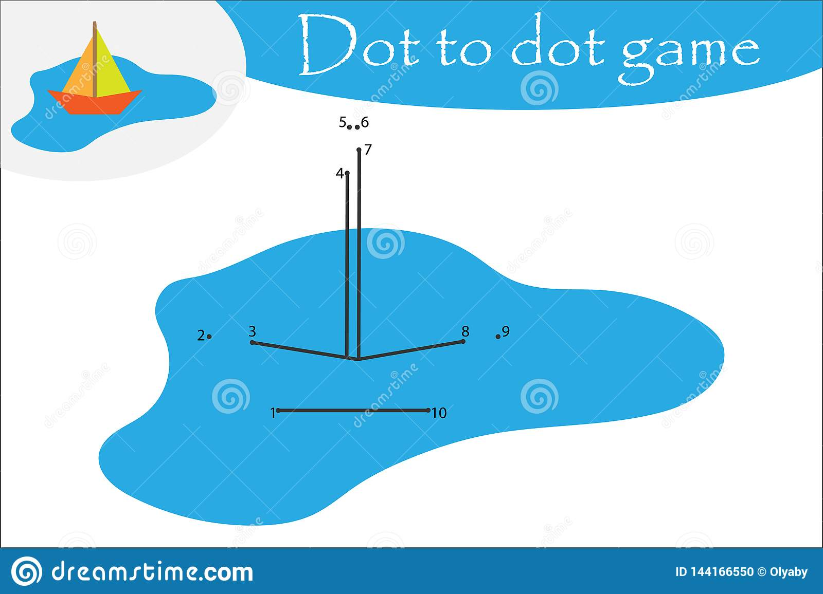 Boat In A Puddle In Cartoon Style Dot To Dot Game