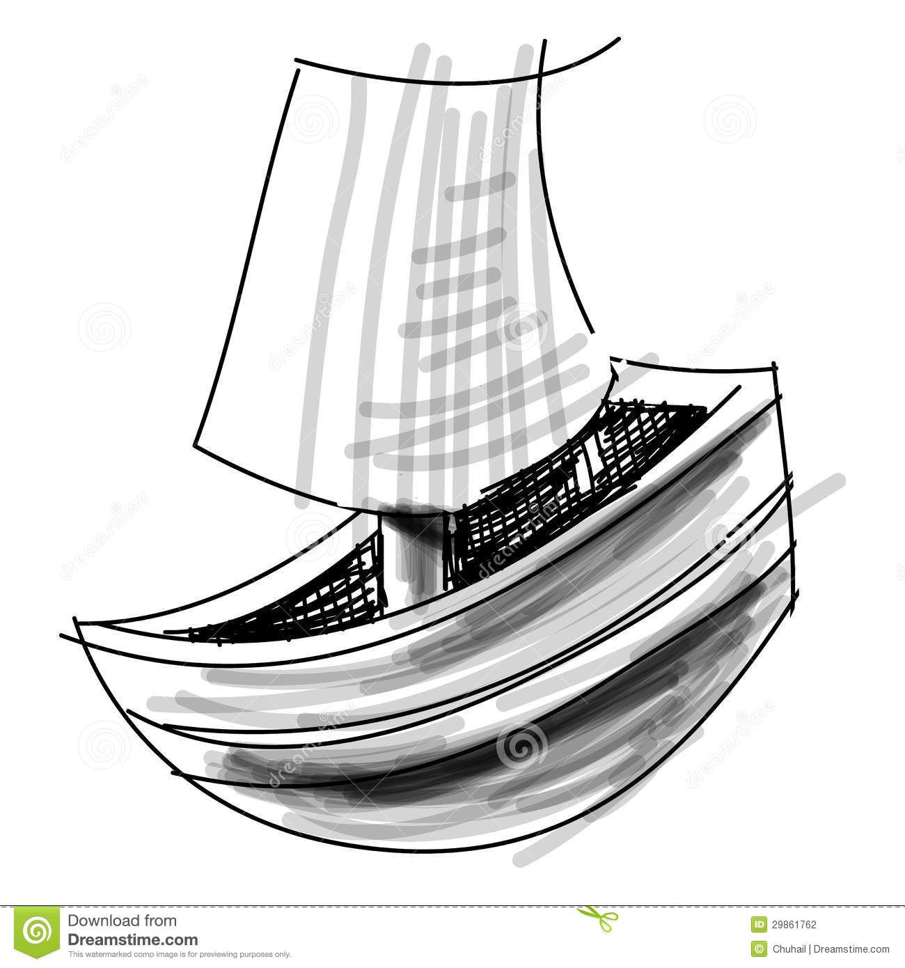 Boat With Sail Sketch Vector Illustration Stock Vector