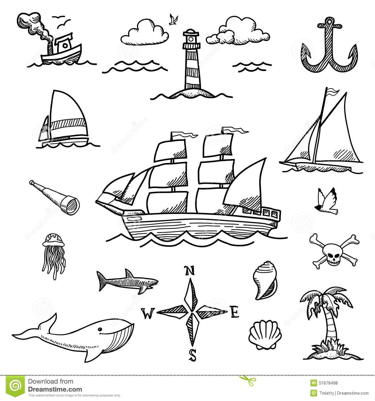 Boat And Sea Hand Drawn Doodles Stock Vector