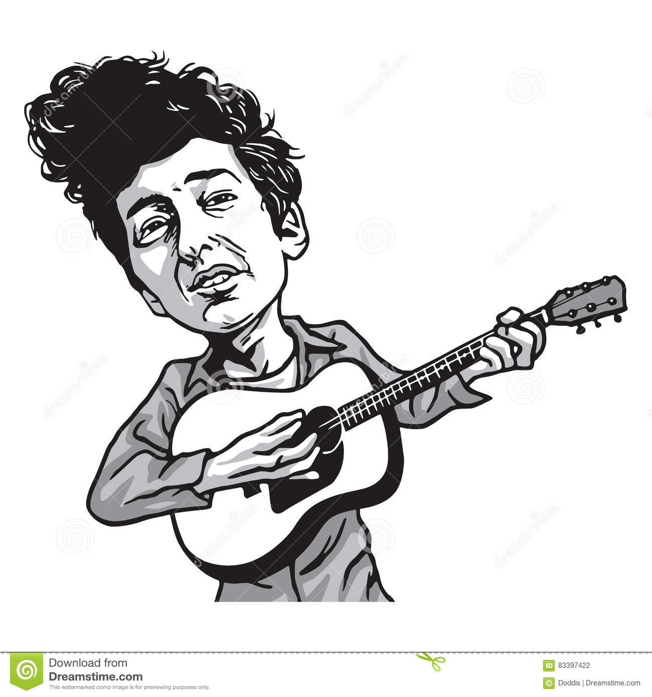 Bob Dylan Cartoon Playing Guitar Stock Vector