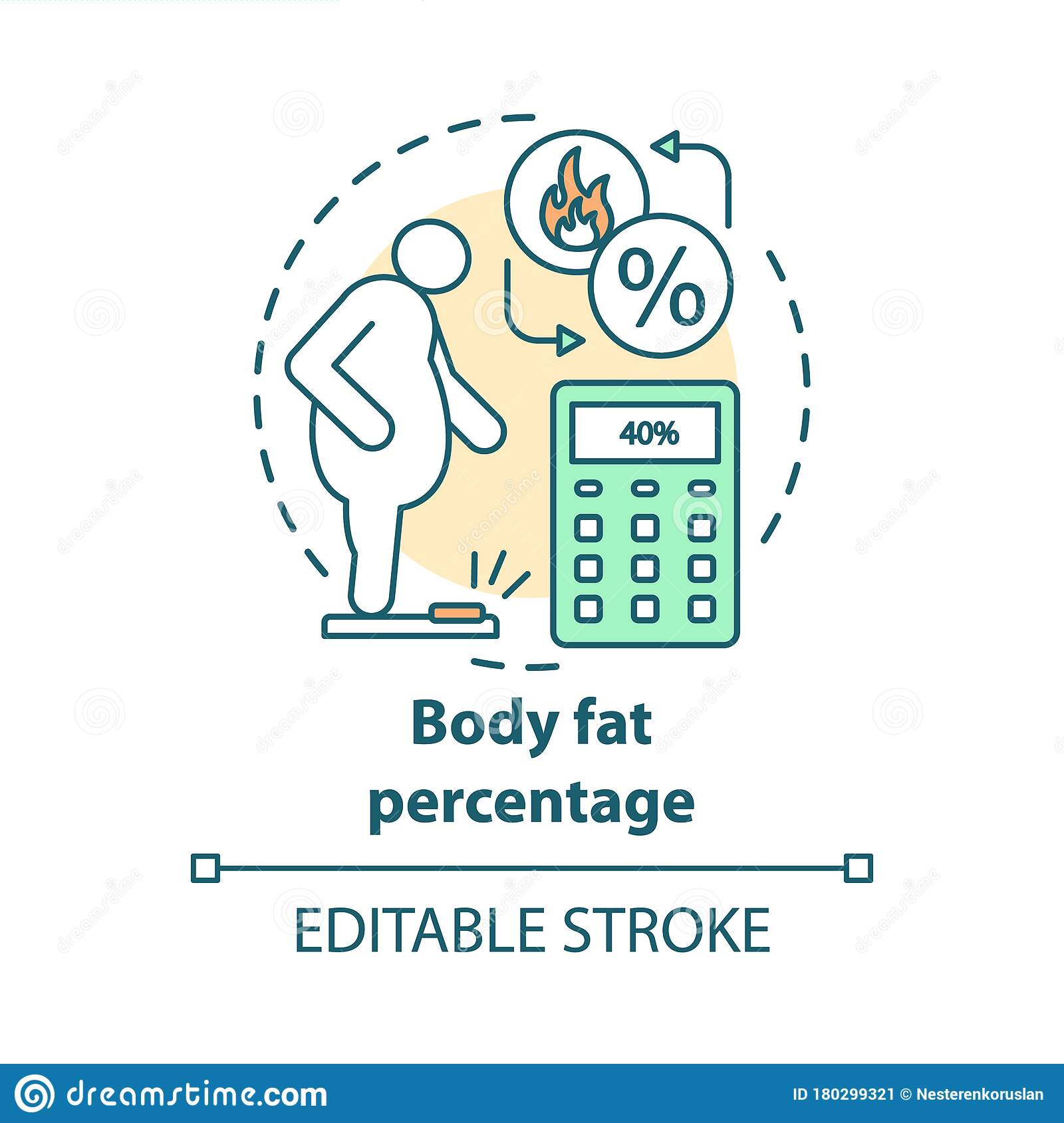 Body Fat Percentage Check Concept Icon Obese Patient On