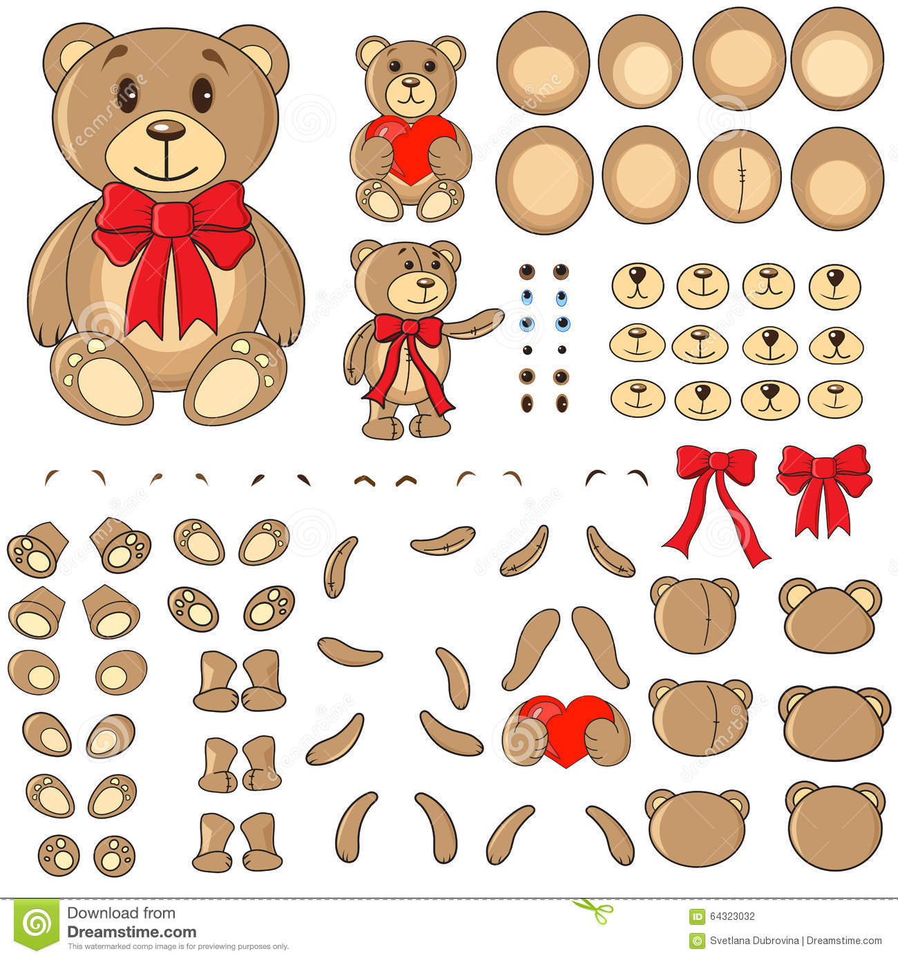 Body Parts Of A Bear In The Vector Stock Vector