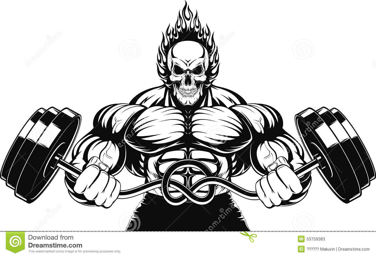 Bodybuilder With A Barbell Stock Vector Illustration Of