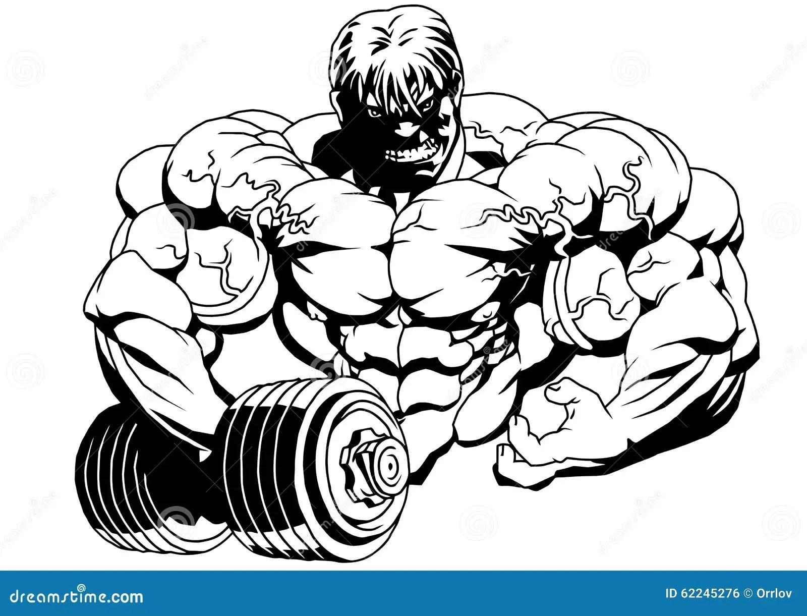 Bodybuilder Com Dumbbells Ilustracao Do Vetor