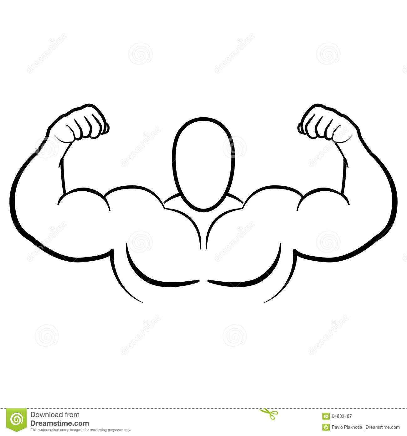 Bodybuilder Muscle Flex Arms Vector Illustration Strong