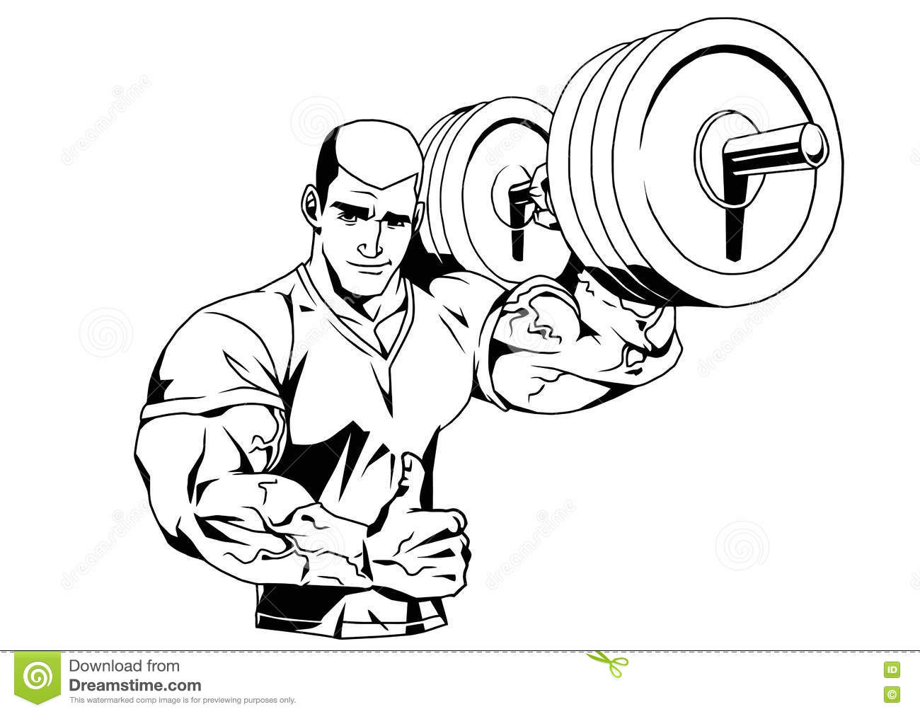 Bodybuilder In T Shirt And Barbell Stock Vector