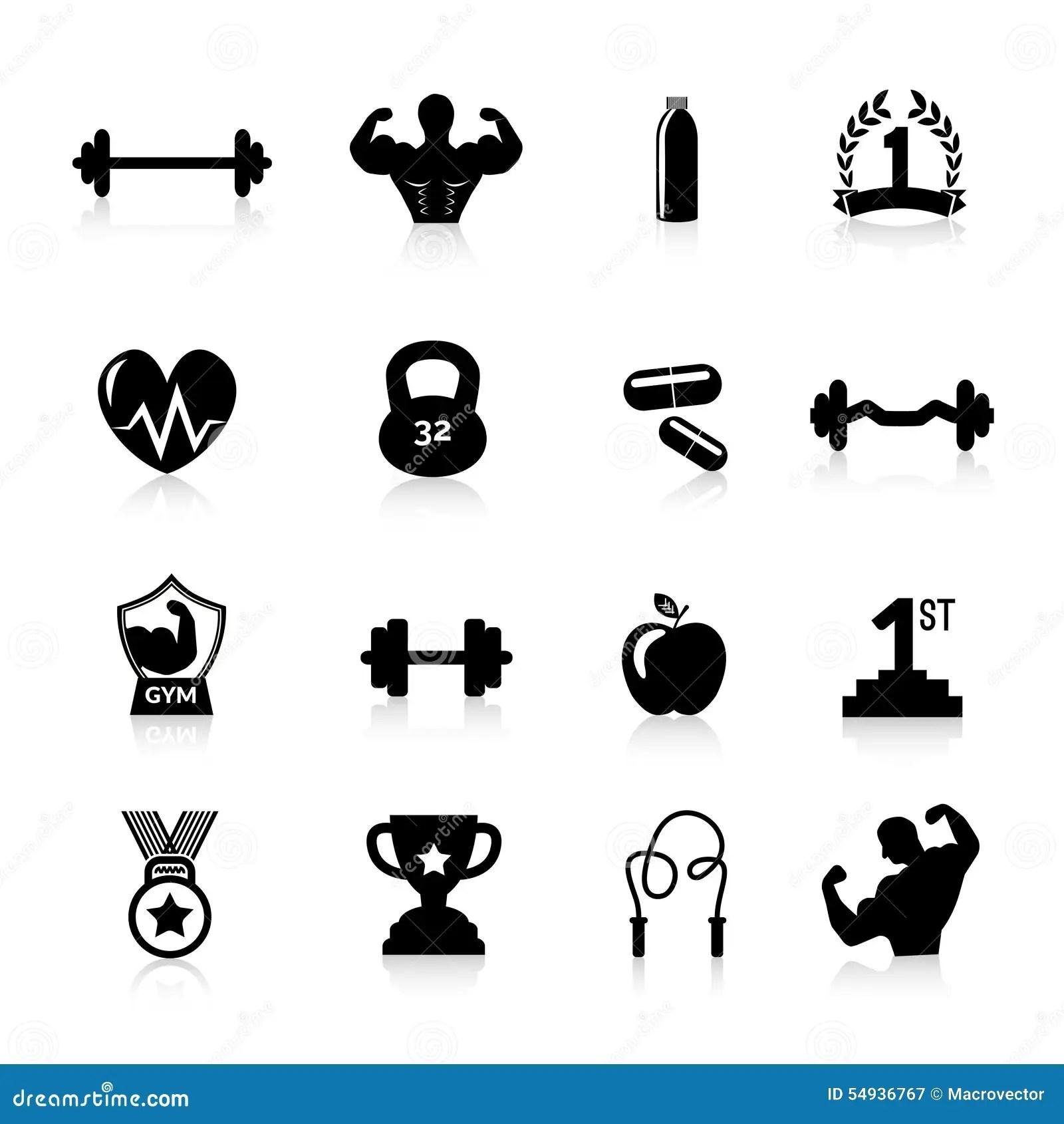 Bodybuilding Icons Black Stock Vector Illustration Of