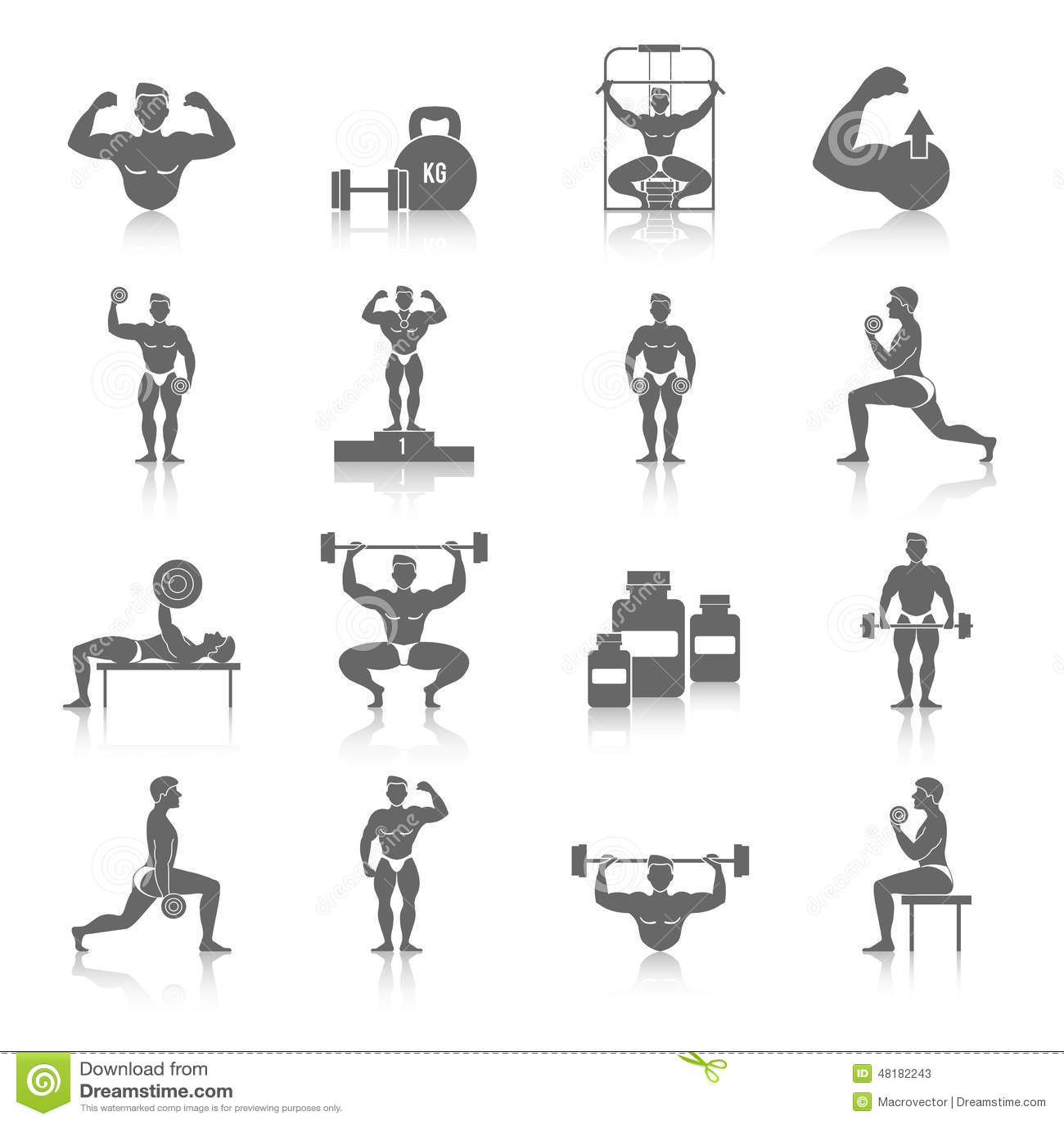 Bodybuilding Icons Set Stock Vector